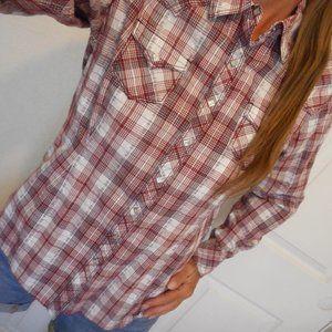 ARIAT Shirt Plaid Button Down Size Large